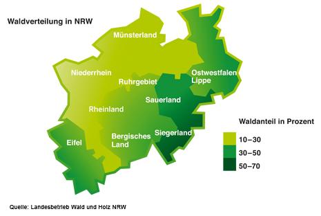 Kartendarstellung Waldverteilung in NRW